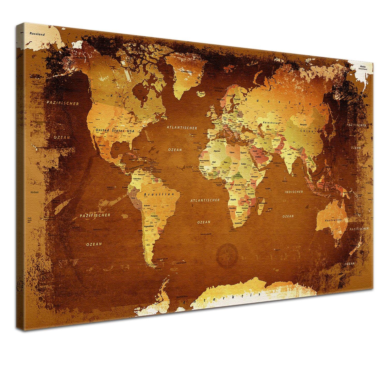 LANA KK Weltkarte Retro Bunt - Leinwand Bild Erde Kontinente Afrika ...