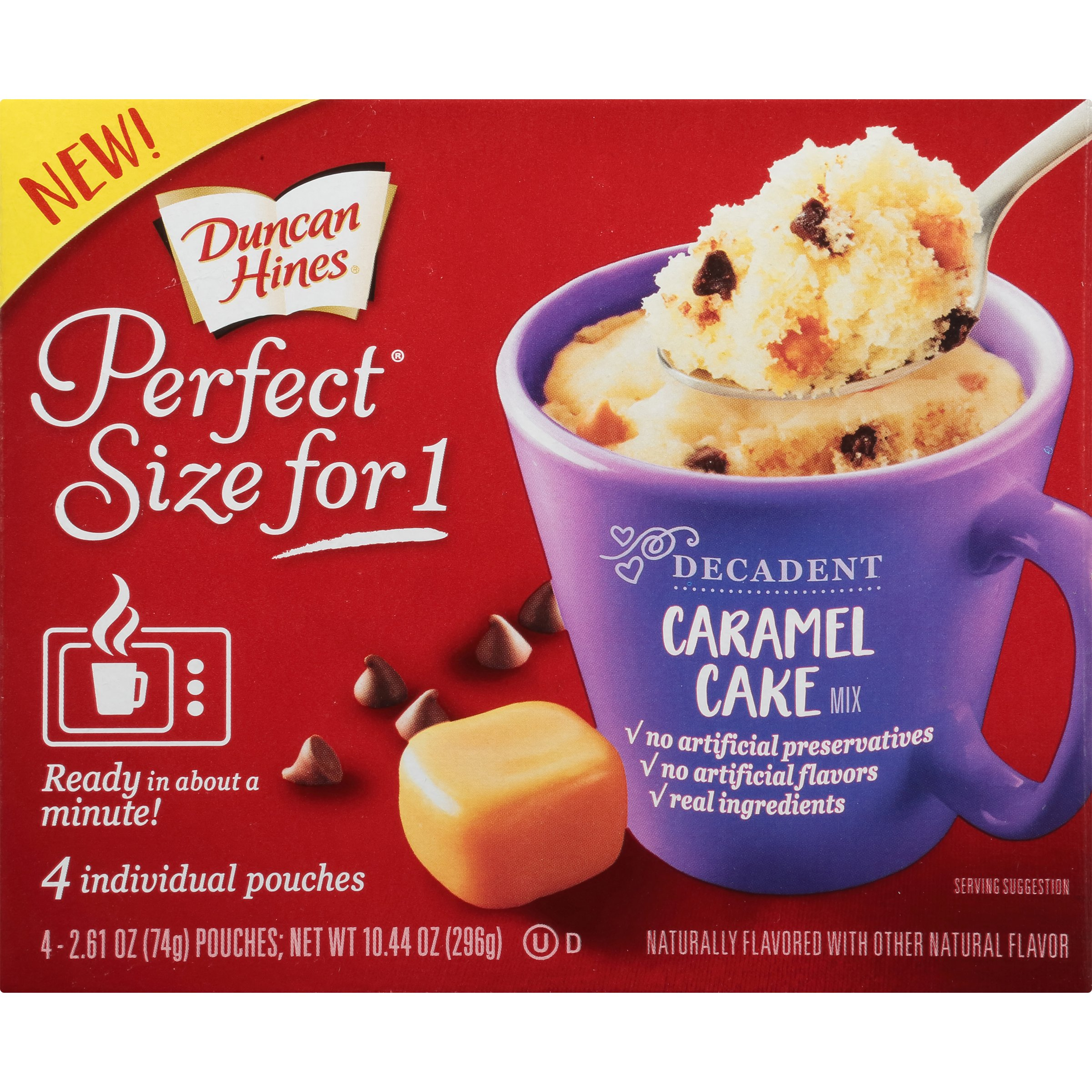 Duncan Hines Perfect Size for 1 Mug Cake Mix, Ready in About a Minute, Caramel Cake, 4 individual pouches