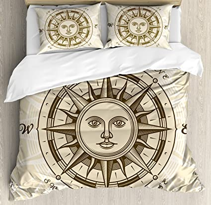 Ambesonne Compass Duvet Cover Set King Size Vintage Rose With Sun Shape Human Face
