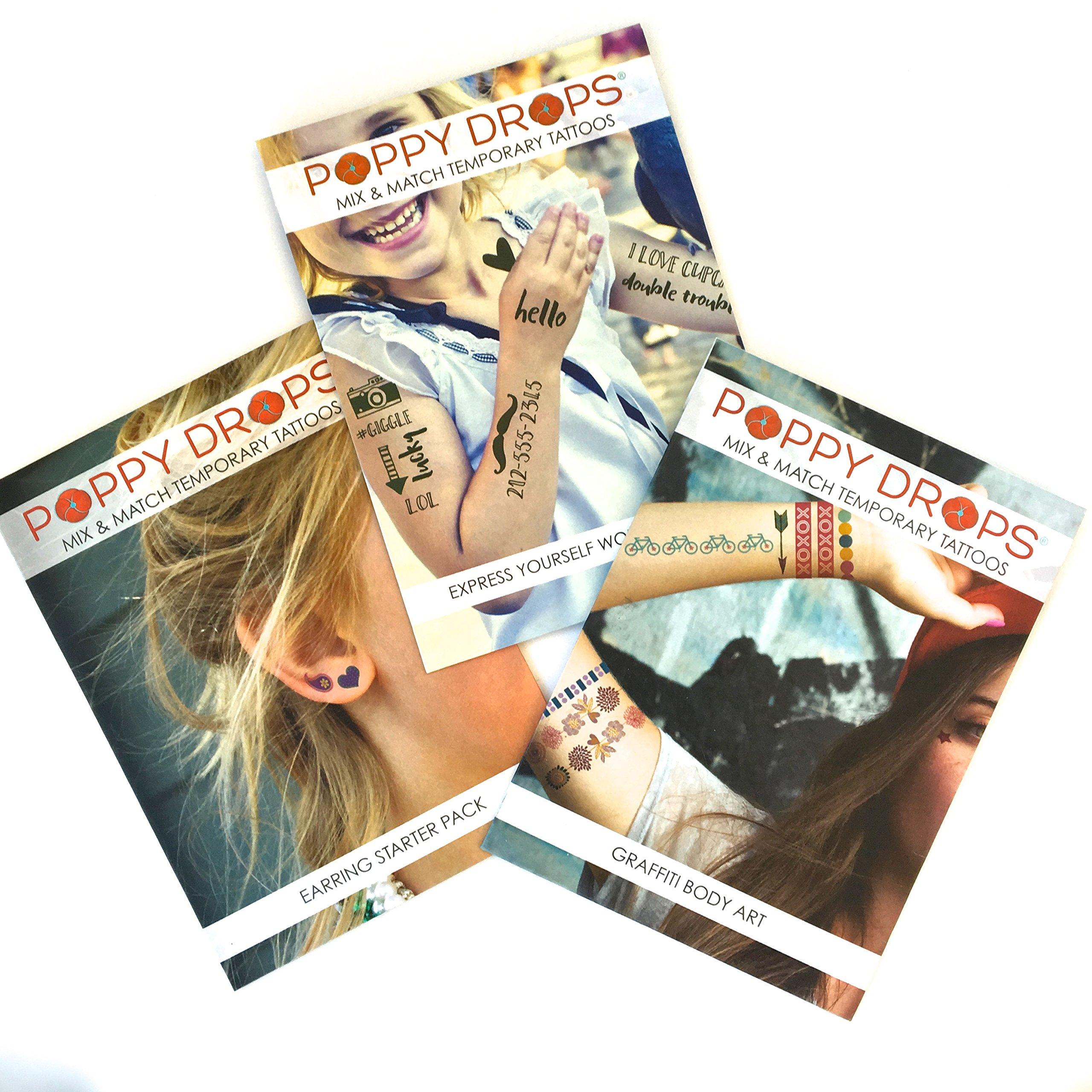 3 Pack Temporary Tattoo Packaged Sets - Express Yourself, Earring Starter & Graffitti Body Art Sets Included