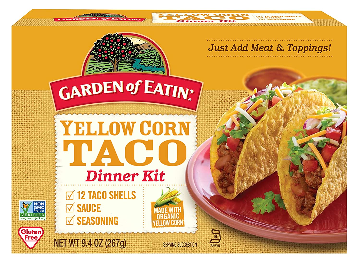 Garden of Eatin' Yellow Corn Taco Dinner Kit, 12 Count