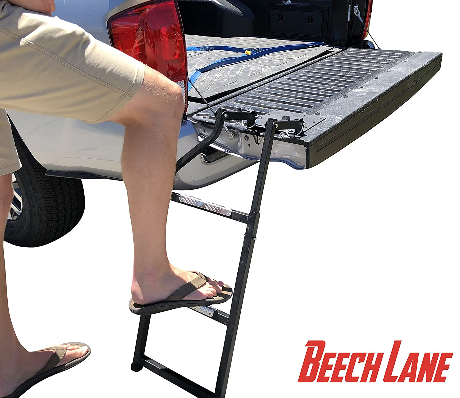 Durable Aluminum Step Grip Plates and Sturdy Rubber Ladder Feet Beech Lane Pickup Truck Tailgate Ladder Stainless Steel Self Drilling Hex Screws for Easy Install Universal Fit