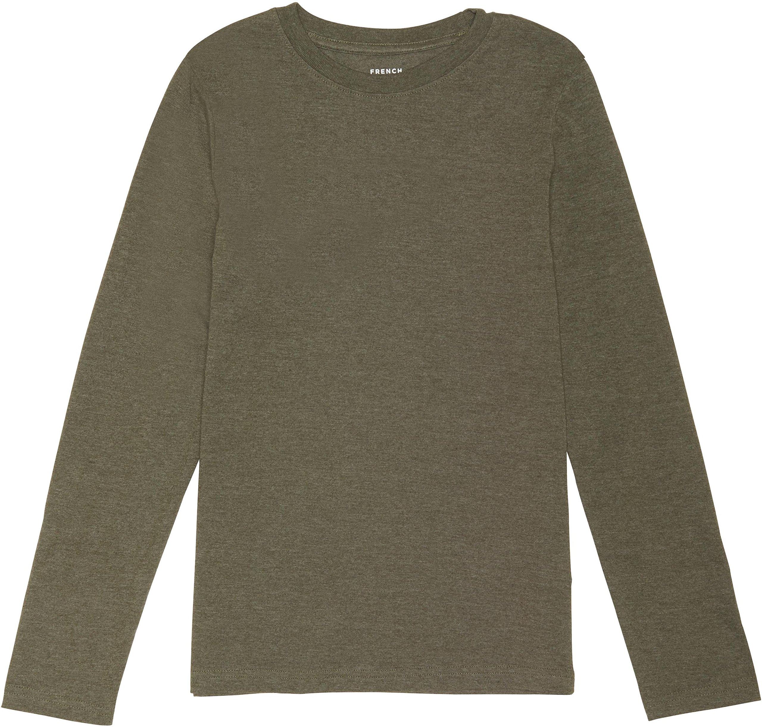 French Toast School Uniform Boys Long Sleeve Crewneck T-Shirt, Ivy Green Heather, Large (10/12)
