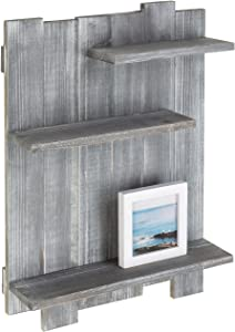 MyGift Wall-Mounted Rustic Gray 3-Tier Staggered Wood Shelf