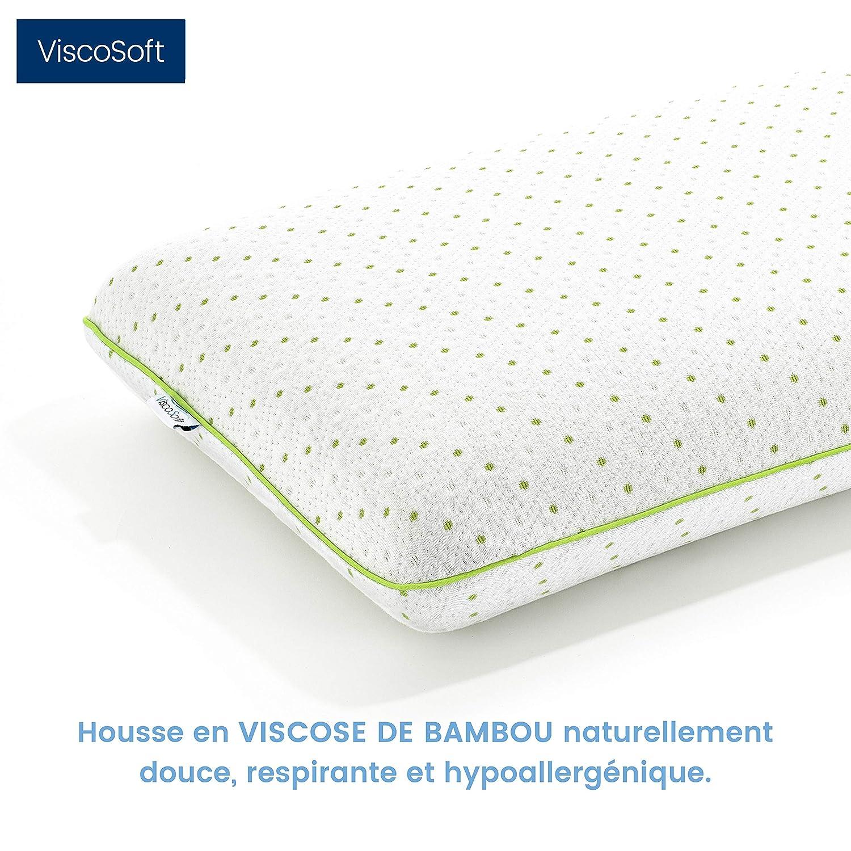 ViscoSoft Housse en Fibre de Bambou Hypoallerg/énique 60x40x12cm Oreiller Premium Moelleux//Souple Mousse /à M/émoire de Forme Bamboo Memo/™