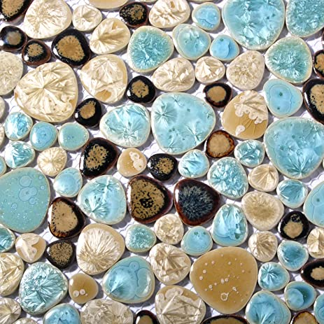 Superior Pebble Porcelain Tile Fambe Turquoise Green Beige Shower Floor Pool Alley  Tiles Mosaic TSTGPT005 (4