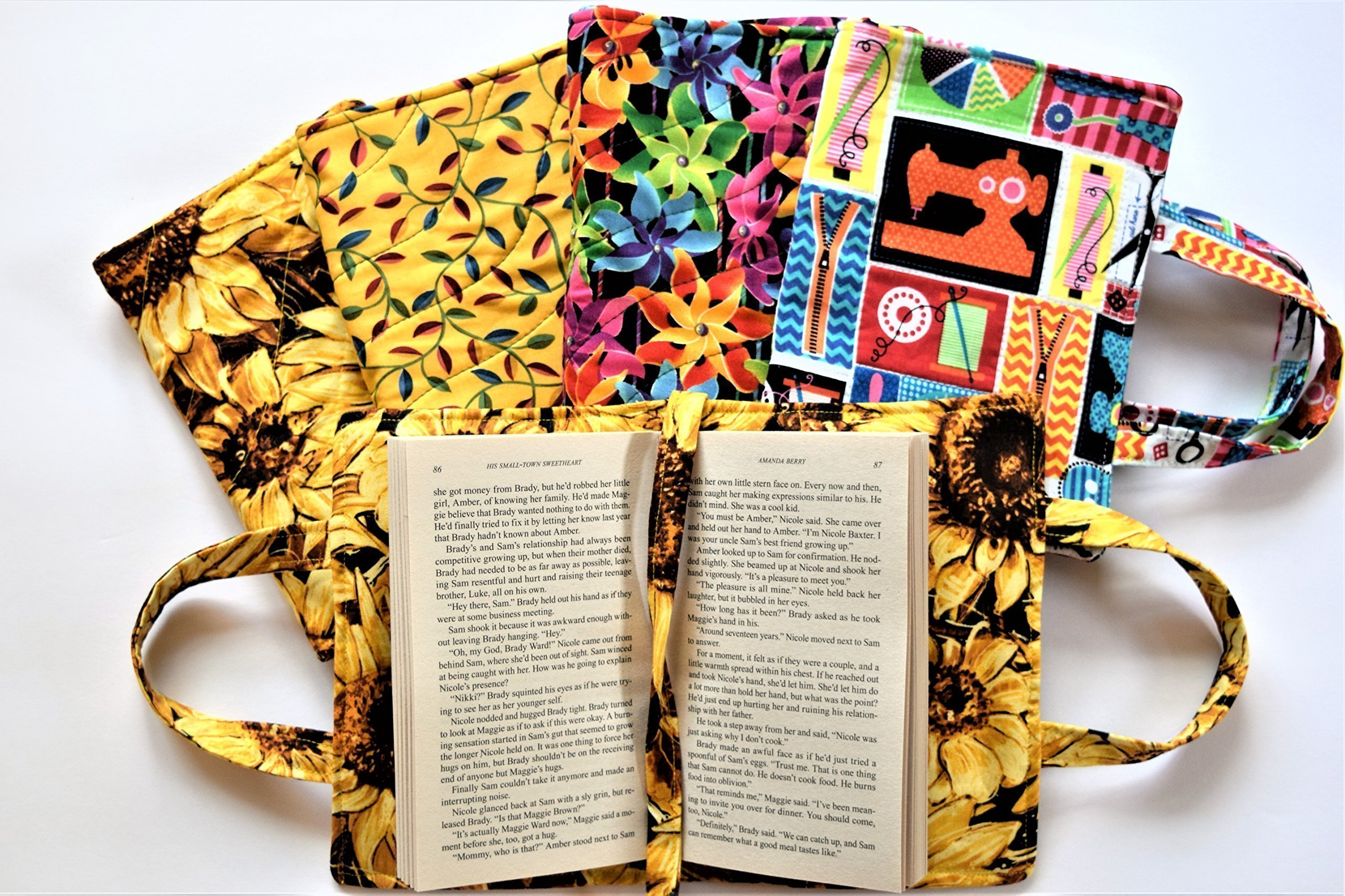Quilted Paperback Romance,Small Standard Book 6.55'' x 4'' x 1.5'' Cover with Carry Strap Handles and Attached Bookmark,Sunflowers,Leaves