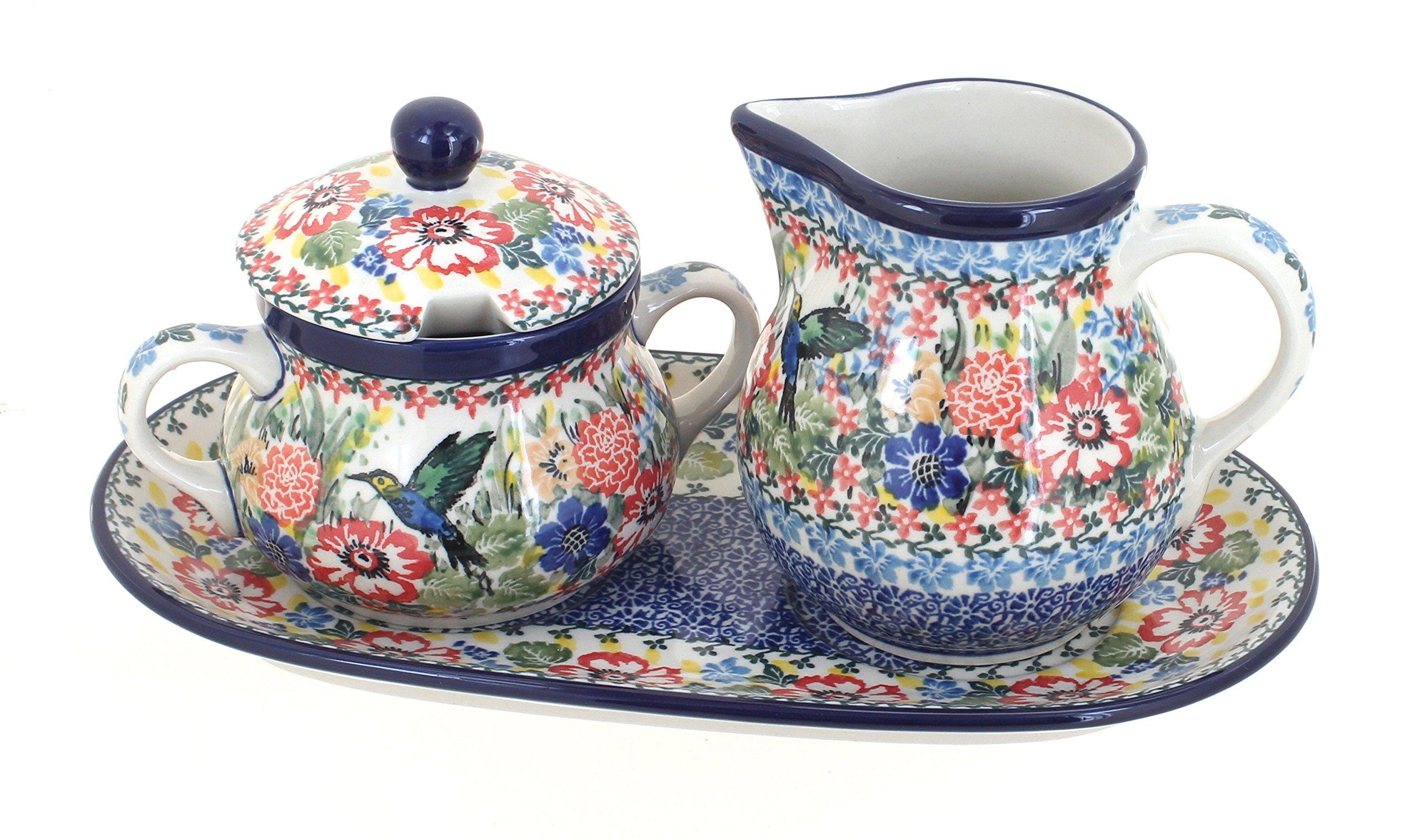 Polish Pottery Hummingbird Cream & Sugar Set with Tray