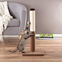 PETMAKER Cat Scratching Post - Tall Scratcher for Cats and Kittens with Sisal Rope and Carpet, Hanging Mouse Toy for Interactive Play (24.5 Inch)