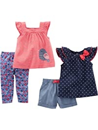Simple Joys by Carter's baby-girls Infant 4-Piece Playwear Set Shorts Sets