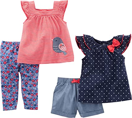 Top Simple Joys by Carters Toddler Girls 4-Piece Short-Sleeve Dress and Pants Playwear Set
