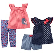 Simple Joys by Carter's Toddler Girls' 4-Piece Playwear Set, Navy Dot/Red Stripe Bird, 24 Months