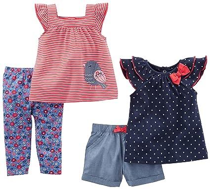 67bdf749eed Amazon.com  Simple Joys by Carter s Baby Girls  Infant 4-Piece Playwear  Set  Clothing