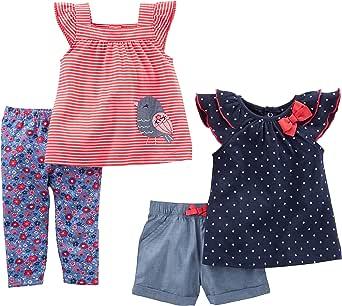 Simple Joys by Carter's Infant 4-Piece Playwear Set Bebé-Niñas, Pack de 4