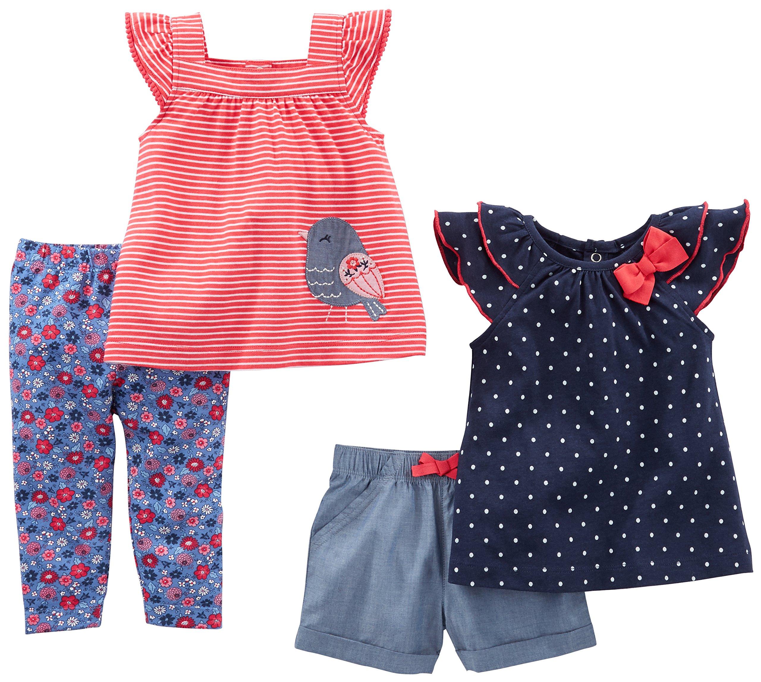 Simple Joys by Carter's Baby Girls Baby 4-Piece Playwear Set, Navy Dot/Red Stripe Bird, 12 Months