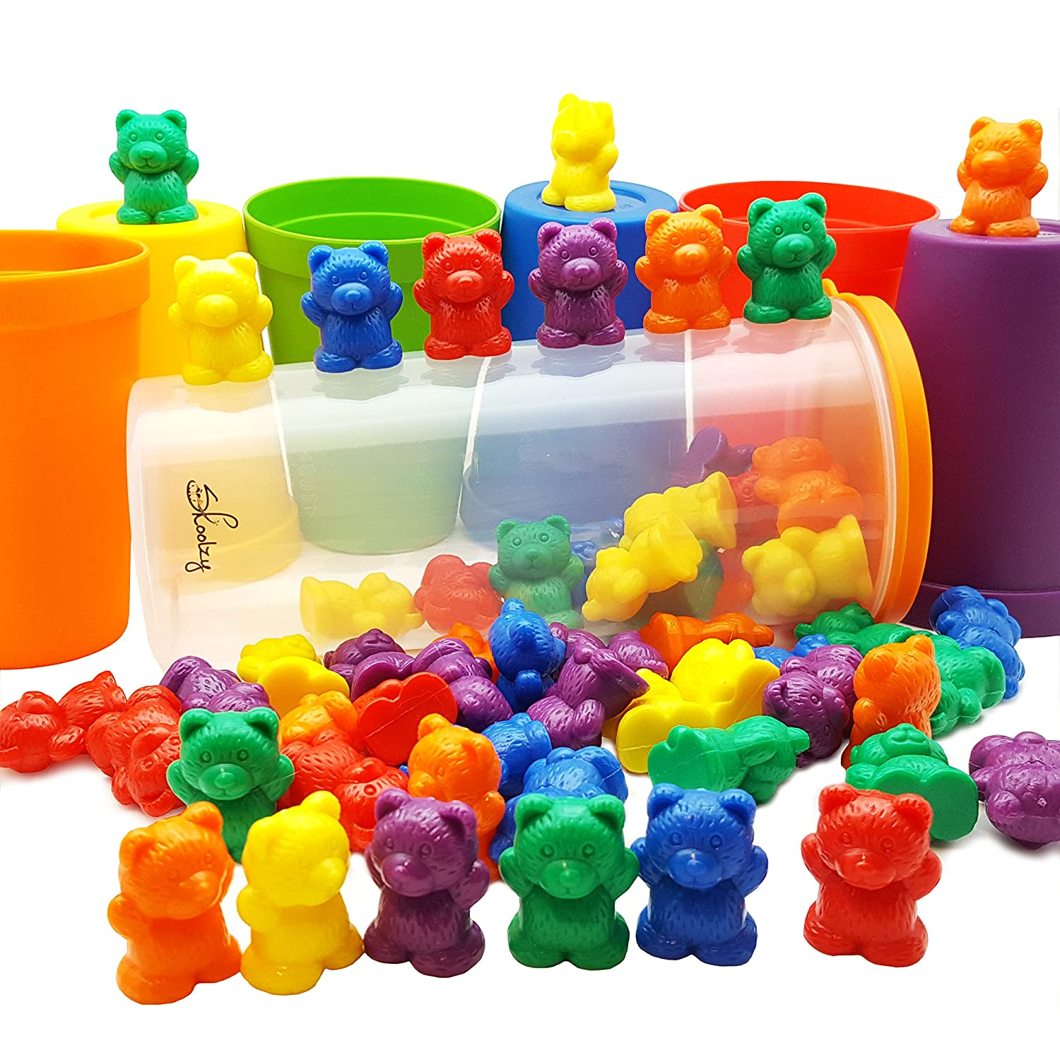 60 Rainbow Counting Bears with Color Matching Sorting Cups Set by