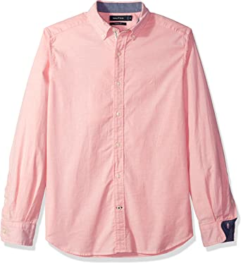 Nautica Unisex Adulto W74100 Manga Larga Camisa de Botones - Rojo - Small: Amazon.es: Ropa y accesorios