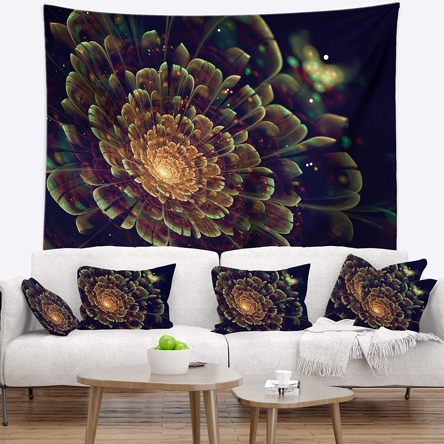 x 32 in Designart TAP7279-39-32  Orange Metallic Fractal Flower Abstract Blanket D/écor Art for Home and Office Wall Tapestry Medium 39 in in