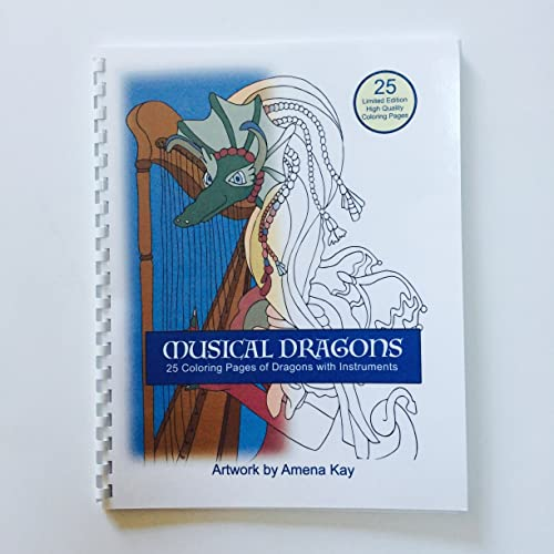 Musical Dragons Coloring Book Spiral Bound On High Quality Thick Paper