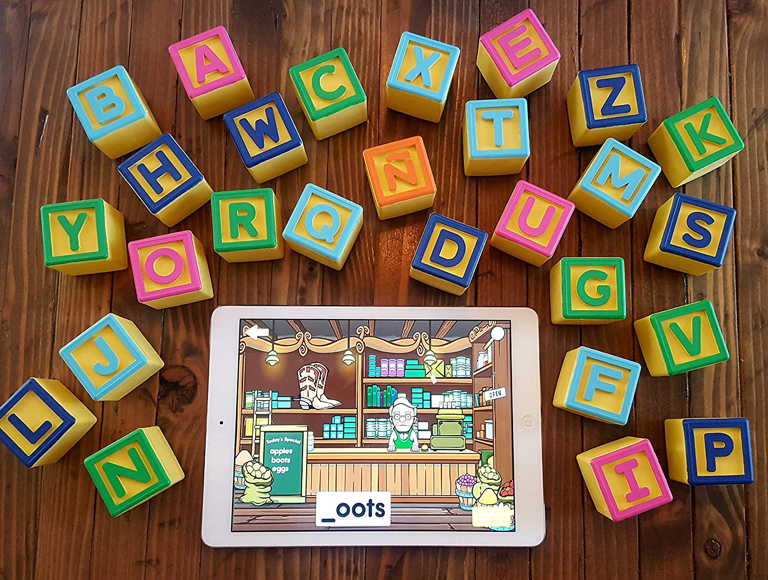 Includes 5 Free Apps Pepe Loves Books Inc. Montessori Toys for ABC Learning Smart Alphabet Blocks for Interactive Educational iPad Games for Preschool /& Kindergarten Learn English /& Spanish Toddlers /& Kids 1-6
