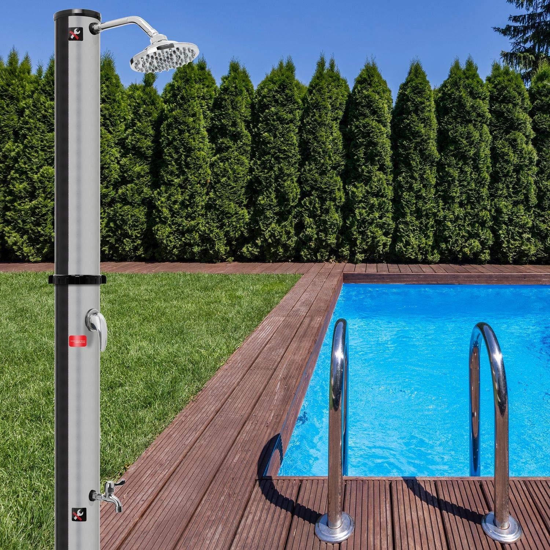 60/°C Schwarz warmes Wasser 20 Liter Pooldusche Camping| Regenduschkopf und Wasserhahn Gartenschlauch-Anschluss ohne Stromanschluss max Kesser/® Solar Gartendusche Solardusche