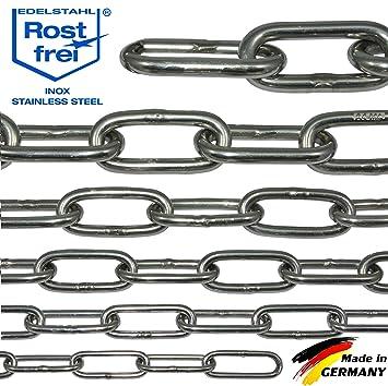 NietFullThings Cadena de acero inoxidable, V4A, eslabones largos y robustos, DIN 5685, DIN 763, inoxidable, para cierres, balizas, género al metro