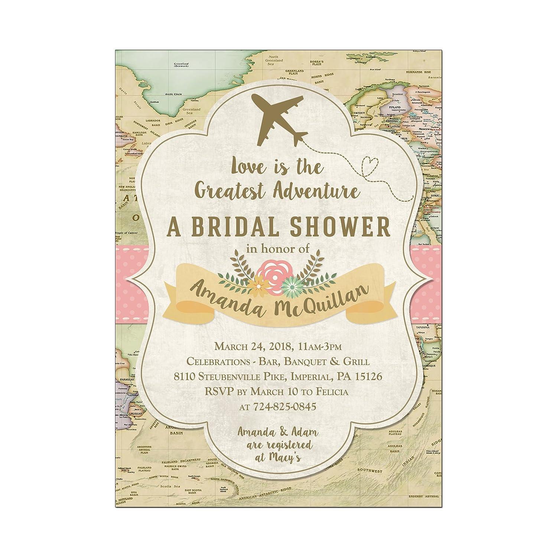 Amazon.com: Travel Map and Plane Bridal Shower Invitations, Set of ...