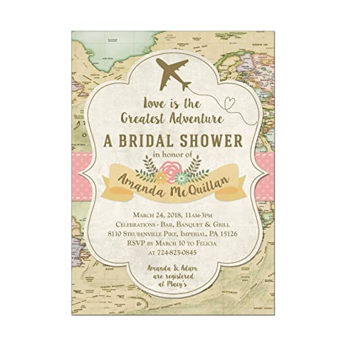 ecec14626dfc Image Unavailable. Image not available for. Color  Travel Map and Plane Bridal  Shower Invitations ...