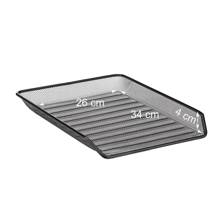 Metal 27 x 29.5 x 35.5 cm Relaxdays Bandeja para Documentos de 3 Niveles Negro