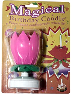 The Amazing Singing Opening Flower Happy Birthday Candle Pink
