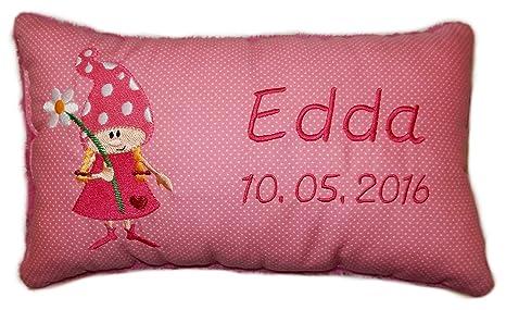 Color rosa cojín * * wichteline * - Cojín con nombre bordado ...