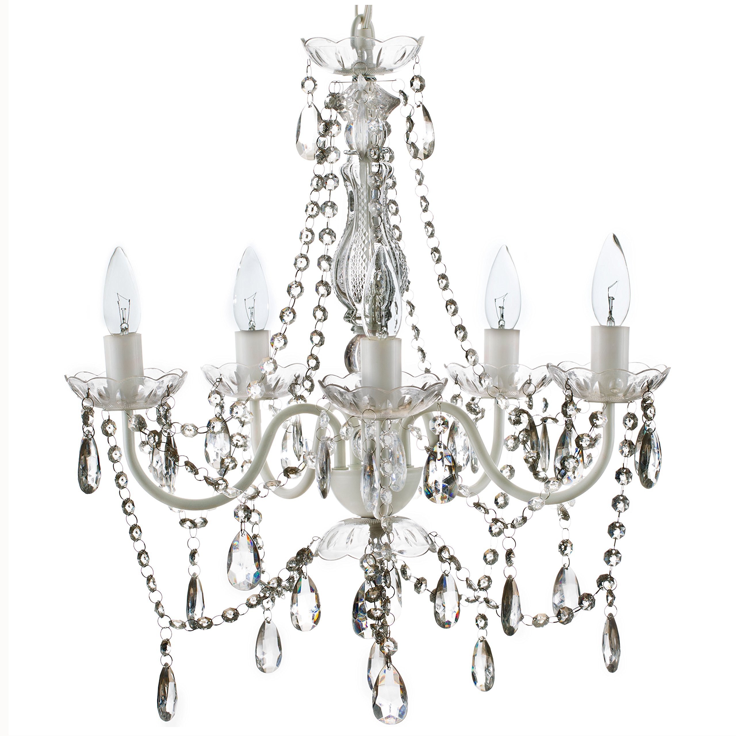 The Original Gypsy Color 5 Light Medium Crystal Chandelier H21'' W19'', White Metal Frame with Clear Acrylic Crystals (Better than Glass)
