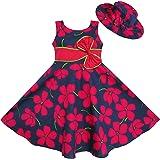 Sunny Fashion - Vestito floreale, bambina, rosso