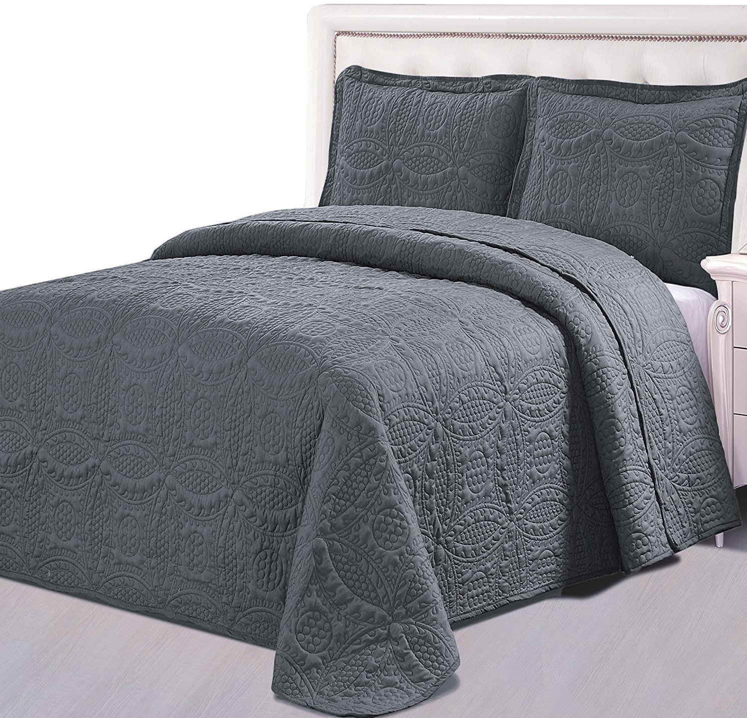 Utopia Bedding Bedspread Set (Queen, Charcoal Grey) - 3 Piece Luxurious Soft Brushed Microfiber Coverlet Set - Quilted Embroidery Over Sized Bed-Cover