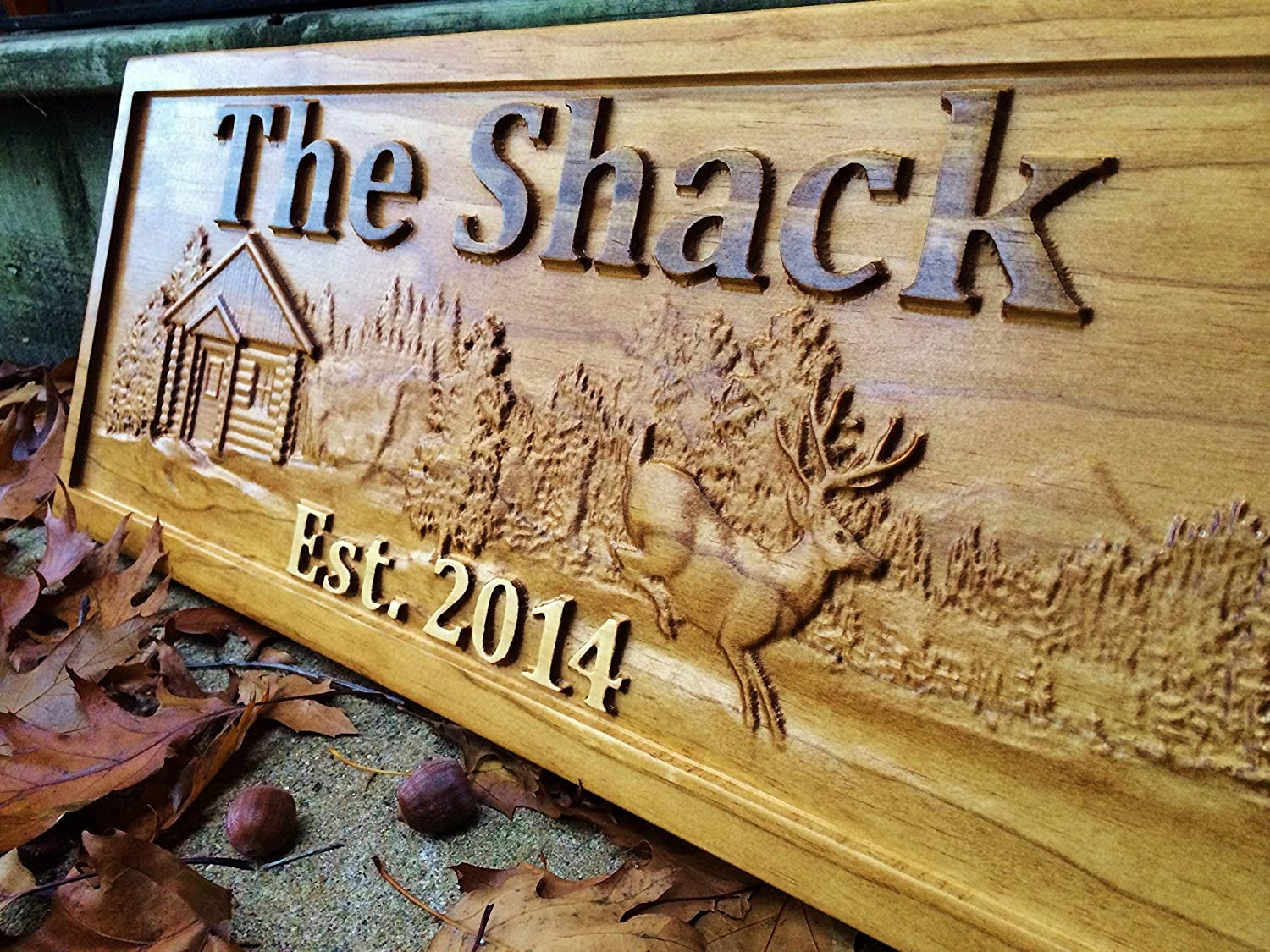 Personalized Wood Sign Custom Cabin Lakehouse Camper Deer Man Cave Rustic Plaque