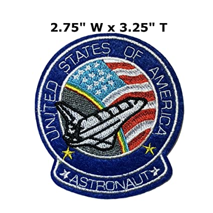 45261c11e8d Image Unavailable. Image not available for. Color  Astronaut 2.75 quot  x  3.25 quot  USA Flag Space Shuttle NASA Theme Rocket Ship Embroidered Sew