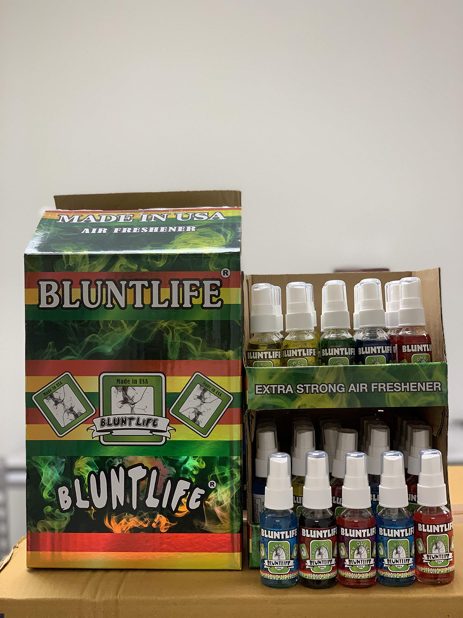 BluntLife 100% Concentrated Air Freshener Car/Home Spray 50 Count Display Box