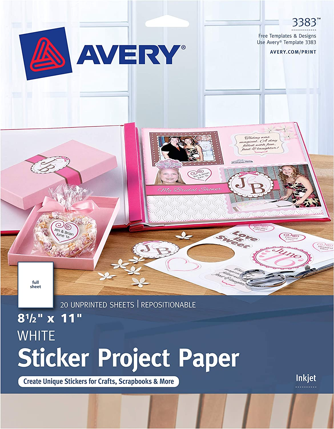 Avery Printable Sticker Paper for Holiday Crafts, Matte White, 8.5 x 11 Inch, Inkjet, 20 Sheets (44383)