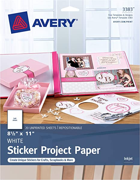 Avery Printable Sticker Paper For Holiday Crafts Matte White 8 5 X 11 Inch Inkjet 20 Sheets 44383