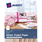 Avery Printable Sticker Paper, Matte White, 8.5 x 11 Inch, Inkjet, 20 Sheets of Craft Paper (44383)