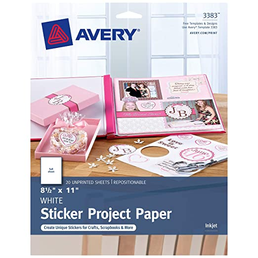 photo about Printable Sticker Sheets titled Avery Printable Sticker Paper, Matte White, 8.5 x 11 Inches, Inkjet Printers, 20 Sheets (44383)