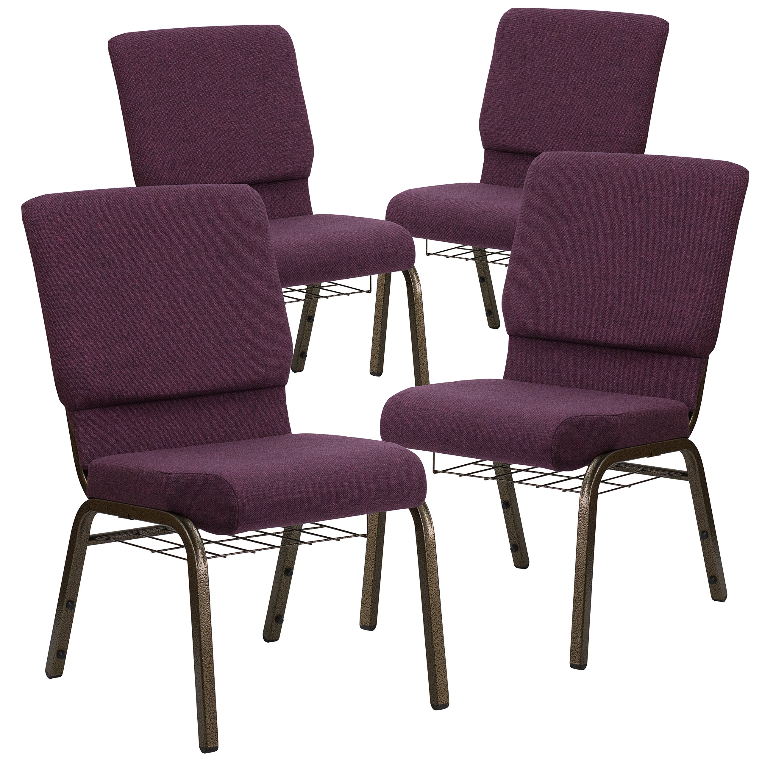 Flash Furniture 4 Pk. HERCULES Series 18.5''W Church Chair in Plum Fabric with Cup Book Rack - Gold Vein Frame