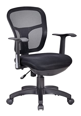 Office Factor Ergonomic Black Mesh Task Conference Room Desk Office Chair  Lumbar Support Extra Cushion On