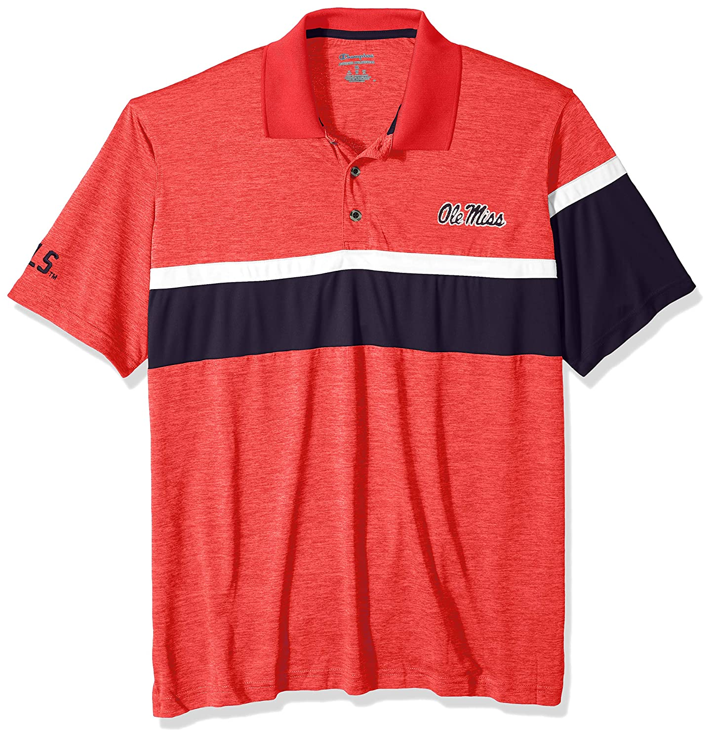 Athletic Red Small NCAA Ole Miss Rebels Mens NCAA Mens Short Sleeve Striped Polo Collared Teechampion NCAA Mens Short Sleeve Striped Polo Collared Tee