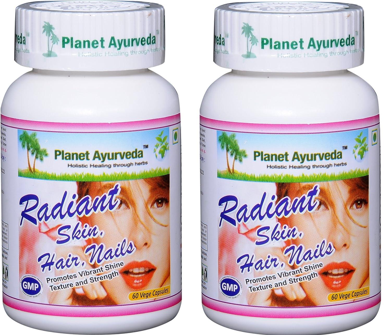 Planet Ayurveda Radiant Hair Skin Nails, 500mg Veg Capsules - 2 Bottles