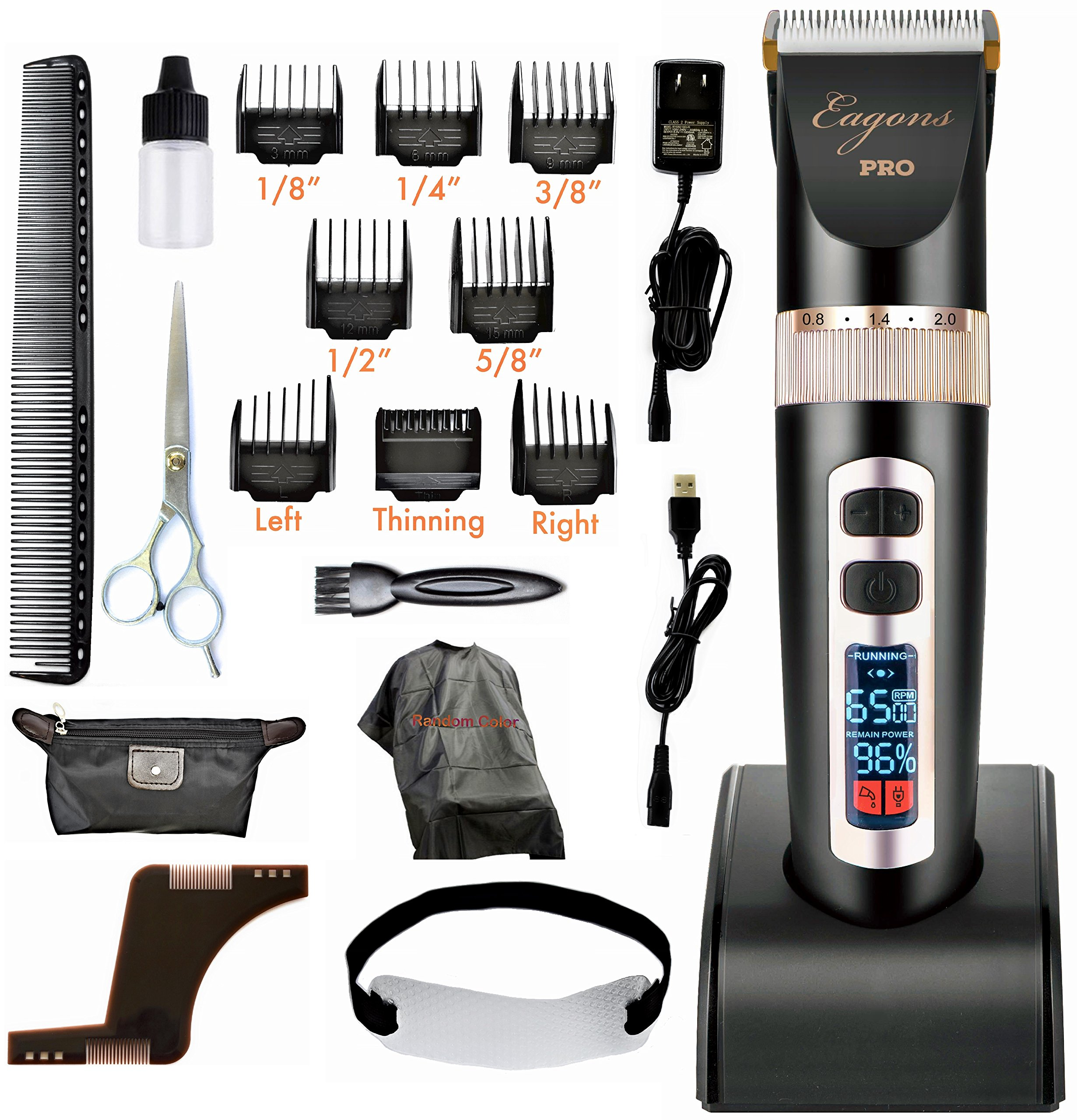 Professional hair clipper, ultra quiet design, 2000mAH Li-ion battery, 3 speed settings, 4 hours cordless runtime, 5 blade position settings, 8 guide combs, plus more in accessory kit, Eagons PRO
