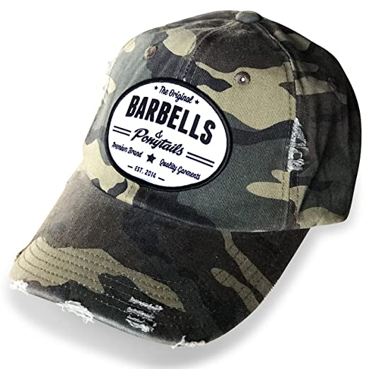 de5a3e74127 Image Unavailable. Image not available for. Color  Barbells   Ponytails  Vintage Camo Baseball Hat