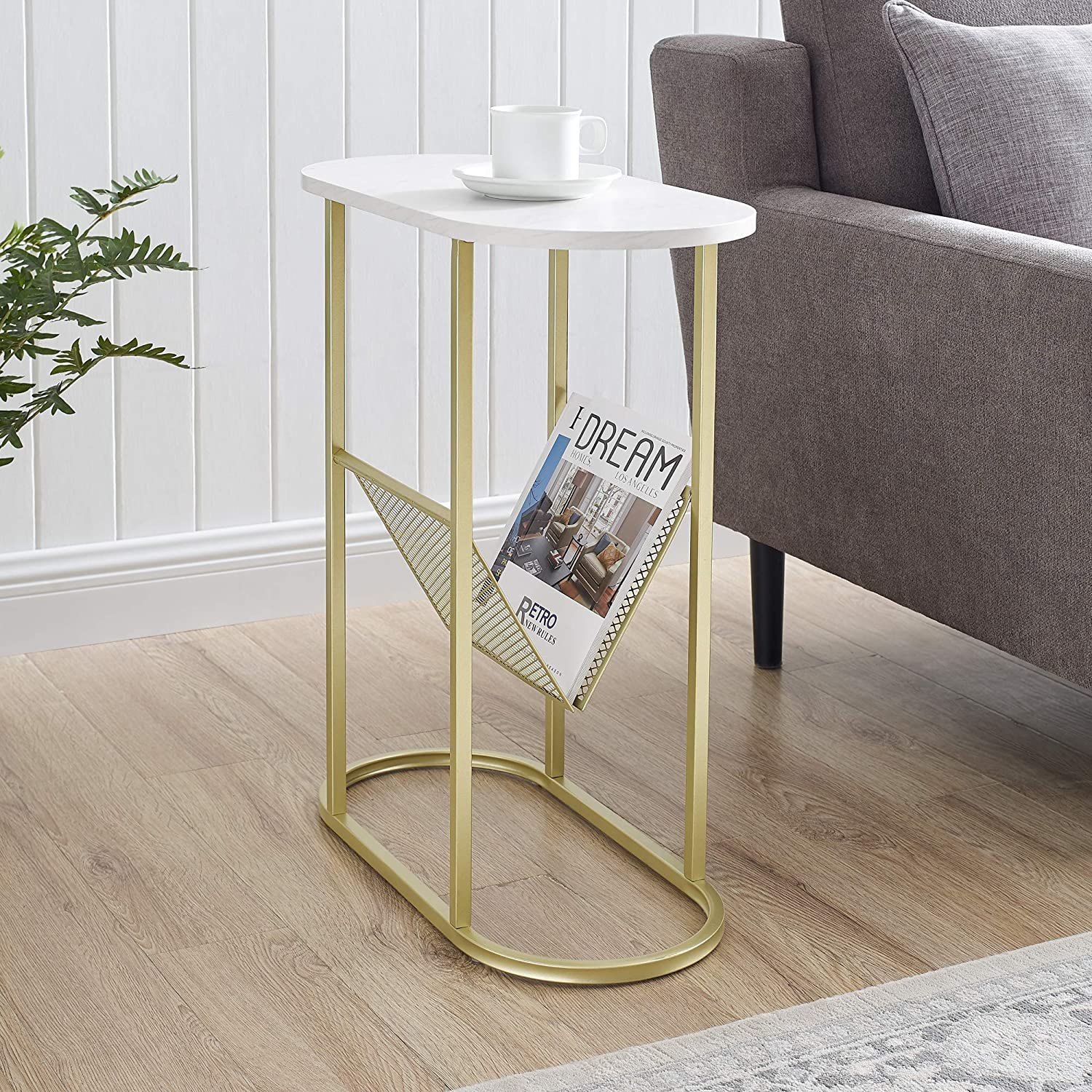Walker Edison Oval Skinny Side Magazine Rack Living Room Storage Small End Table, 11 Inch, Marble/Gold