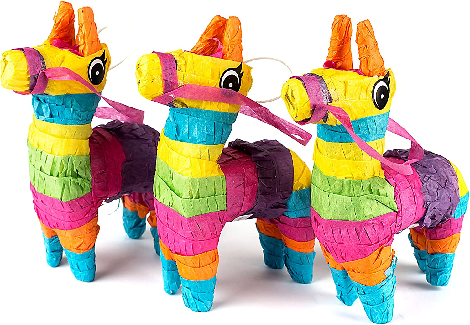"Neliblu Set of 3 Mini Donkey Pinatas 4""x7"" inches, Fiesta Decorations, Cinco de Mayo Pinata, Party Favors, Party Supplies and Centerpieces"