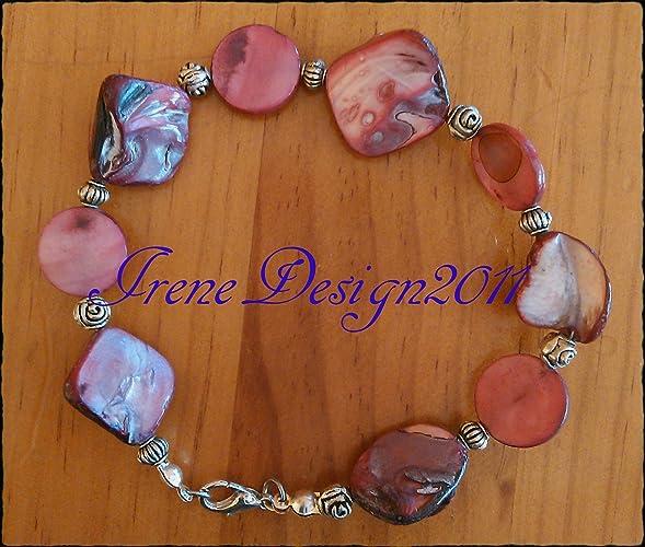 Pink Shell Nuggets & Roses Bracelet